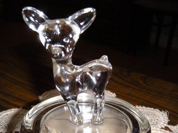 Vintage Clear Glass Deer/Doe Candy or Nut  Dish/Bowl