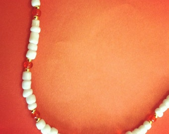 White Beaded Necklace With Red Focal Beads
