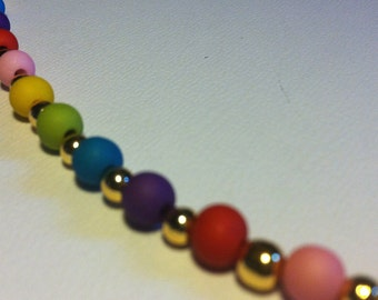 Rainbow Acrylic Beads Necklace - M203