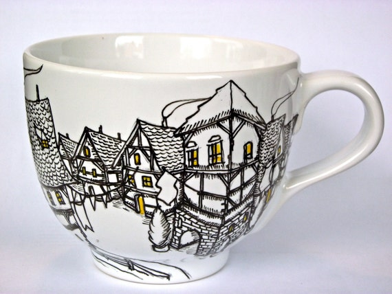 Whimsical German Old Town Hand Painted Coffee Mug