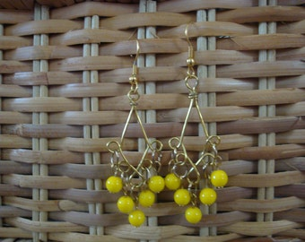 Gold Metal With Yellow Glass  Beads.