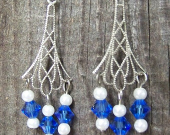Silver Filigree With Blue Swarovski Beads and Round Pearly White Beads