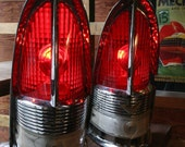 """1955 Packard """"Cathedral"""" Red Taillight Table Lamps - Original Old Portland Hardware and Architectural Lighting"""