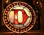 Letter D Made of Red and Blue Antique Leaded Stained Glass with 31 Amber Jewels