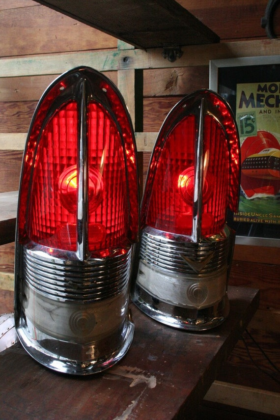 "1955 Packard ""Cathedral"" Red Taillight Table Lamps - Original Old Portland Hardware and Architectural Lighting"
