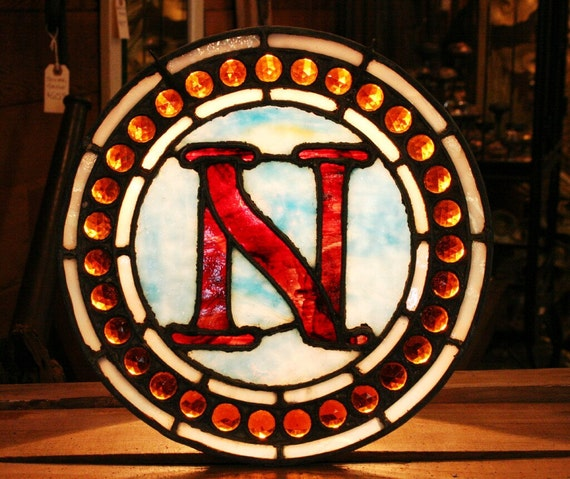 Letter N Made of Red and Blue Antique Leaded Stained Glass with 31 Amber Jewels