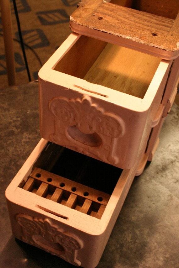 Pink Sewing Machine Drawers - Antique Oak Storage Boxes