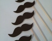 STACHE STICKS (Set of 6 large hand cut stache sticks in brown)