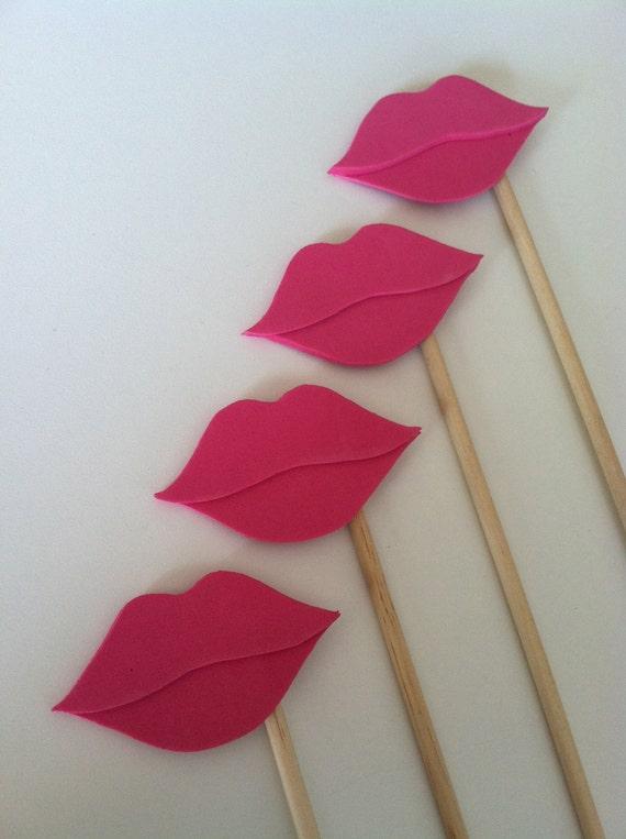 LIP STICKS Set of 5 dark pink hand cut lip sticks