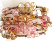 Pretty Pink Bracelet, 6 strands of Czech Beads in Pink, Taupe and Antique Brass