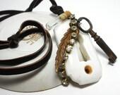 Elegant Artifact Necklace, Antique Keyhole, Key,Watch Part Vial, Rhinestones,Brass Leaf