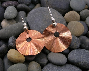 Ruffled Copper Hammer Texture Dangling Earrings with Sterling Silver Beads and Hand Formed Sterling Silver Wires