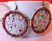 Red and white bead criss cross earrings, exotic earrings, lahori earrings, arabian earrings, gifts for her