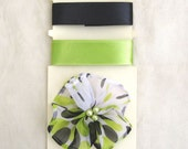 Scrapbooking Embellishment Pack-Black and lime green satin ribbon with coordinating green black white tulle flower with pearl bead center