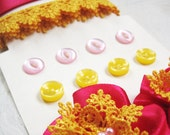 Yellow Pink Ribbon Flower Button Scrapbooking Pack-Hot pink satin ribbon yellow trim with pink and yellow buttons ribbon trim flowers