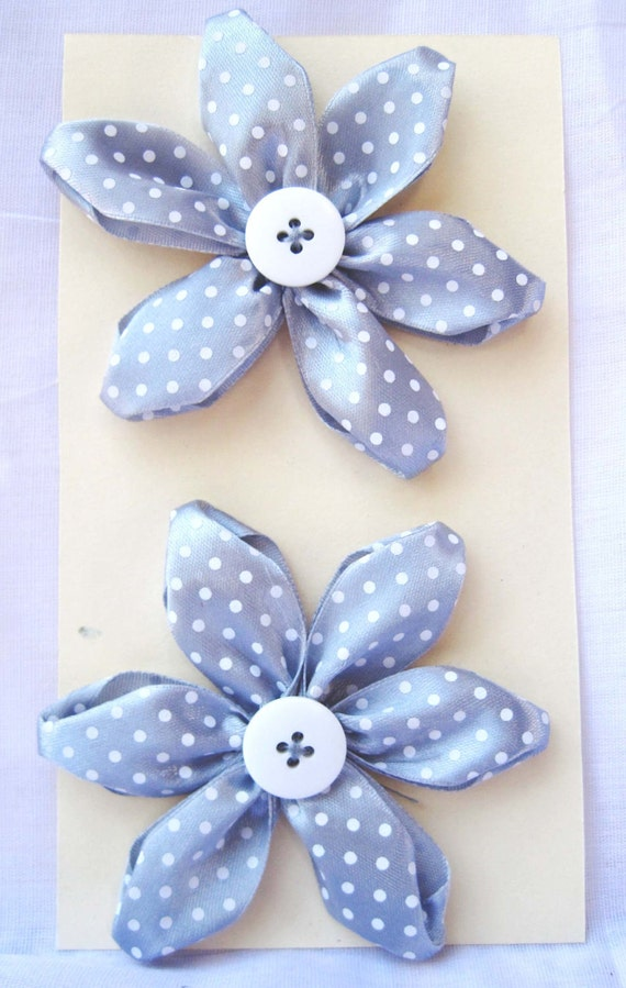 Scrapbooking Flower Embellishment Pack-Dove grey polka dot satin flowers with large white button centers