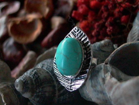 Turqouise Ring Adjustable Tibetan Silver