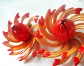 Vintage Orange Flower Brooch & Earring Set- 1950s