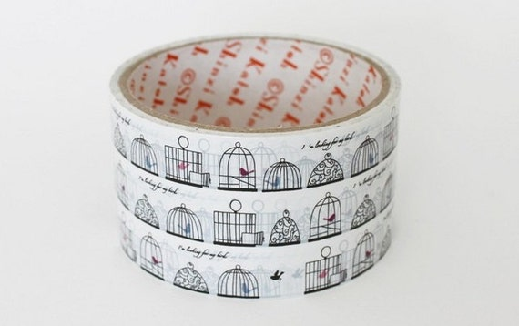 Packing Tape Deco Tape Pretty Bird and cage For Gift Wrap