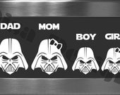 Your choice of 4 Star Wars, Darth Vader inspired Family vinyl decals / Please READ description for ordering instructions - Car decal