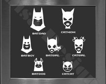 Your choice of 5 Batman Bat Family decals / Please READ description for ordering instructions - Car decal - Family decal