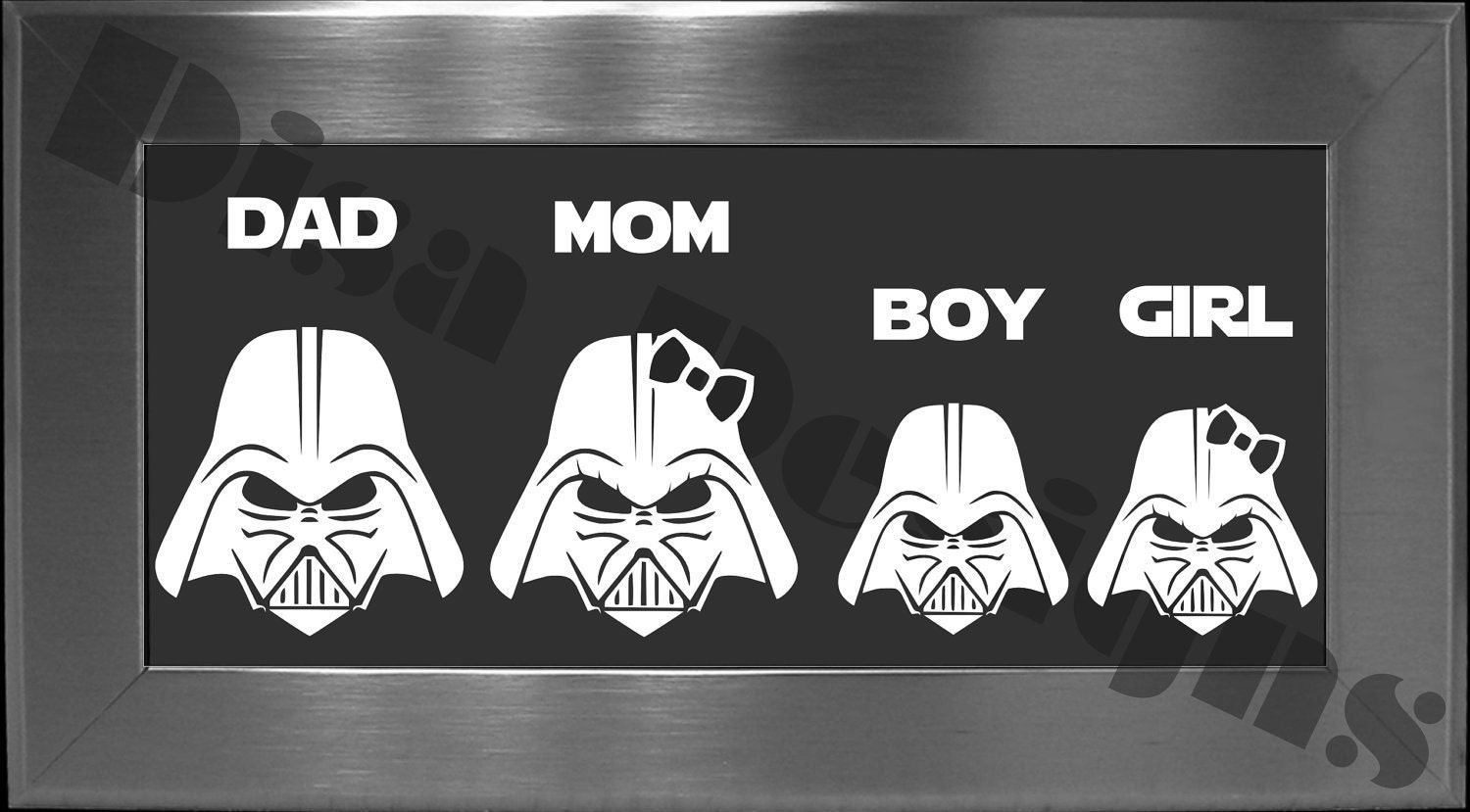 Your Choice Of  Star Wars Darth Vader Inspired Family Vinyl - Star wars family car decals