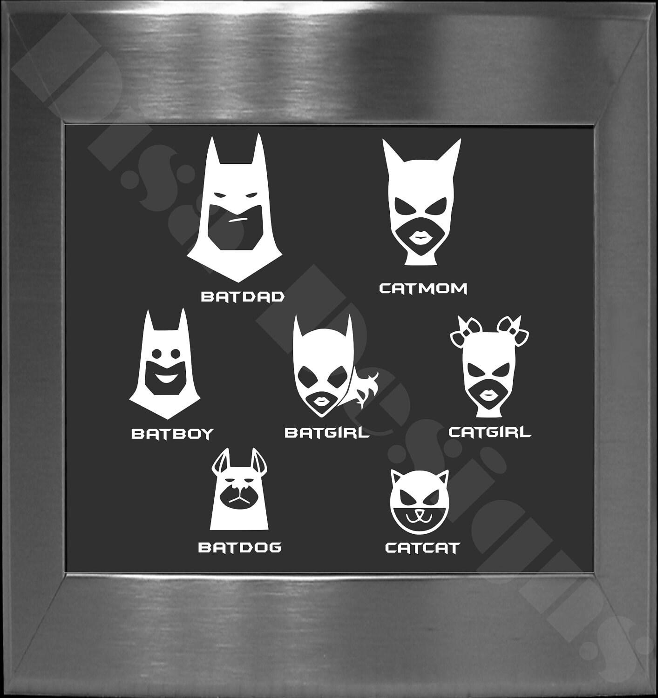 Your Choice Of  Batman Bat Family Decals  Please READ - Unique family car decals