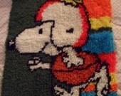Snoopy /  Football / Finisdhed Latch Hook Rug