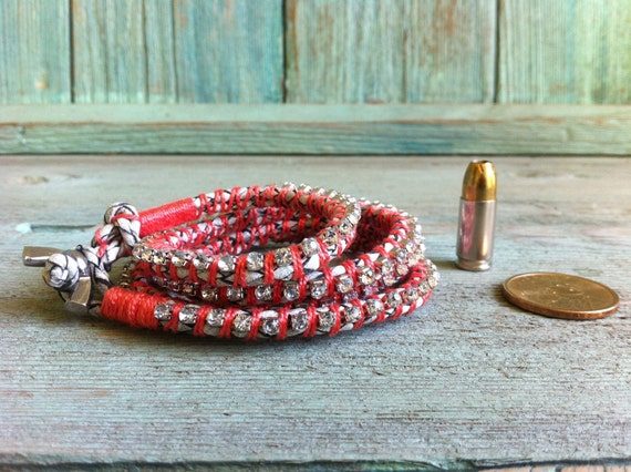 Leather and rhinestone wrap bracelet - Coral thread with white bolo leather.