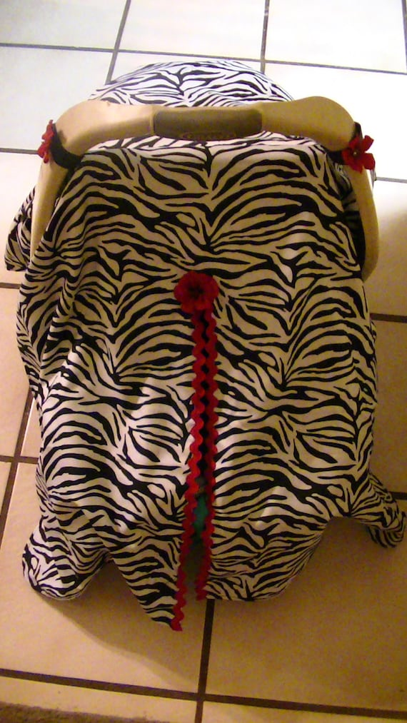 Zebra Print and Red Car Seat Canopy Cover With Red Flower detail