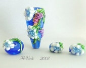 Monte Verdi Lampwork Beads- SRA - Flanders - Made To Order -Beautiful Blooms, Focal with Bonus