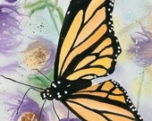 Cards / Notecards - Jennifer Love Artwork Notecard - Butterfly Butterflies Monarch Flowers Purple Lavender Art 5 x 7 First Green EBSQ