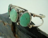 Sterling Silver Turquoise Bracelet // Navajo Design w/ Brilliant Green Turquoise
