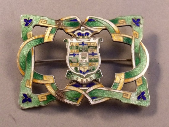 Art Nouveau Period Sterling Silver Enameled Canadian Crested Buckle Brooch