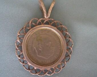 Vintage Coin Pendant 1957 Spanish 5 PTAS
