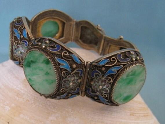 RESERVED FOR Jane Vintage Chinese Carved Jade Bracelet Enamel Filigree Silver