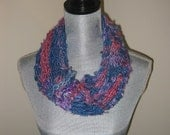 Pink, Blue and Purple  Banana Silk Knit Cowl