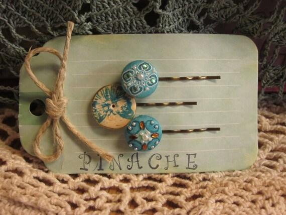 Accessories, Hair Accessories, Vintage Button Hair Pins, Blue