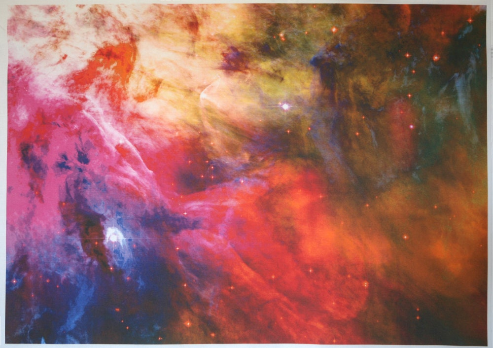 Astronomy fabric orion nebula photograph 25 x 17 by for Nebula material