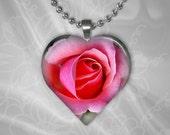 Pink Rose Heart Shape Glass Pendant