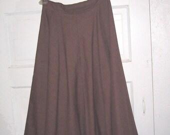 Vintage, retro, brown, Ladies Wool Blend Skirt, size 11, womens, formal