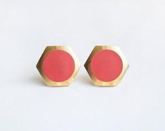 Peach circle Geometric Hexagon stud earring -Large-