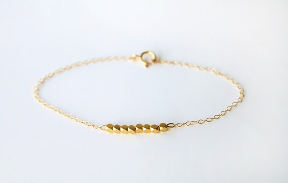 14k gold filled bracelet with gold nuggets