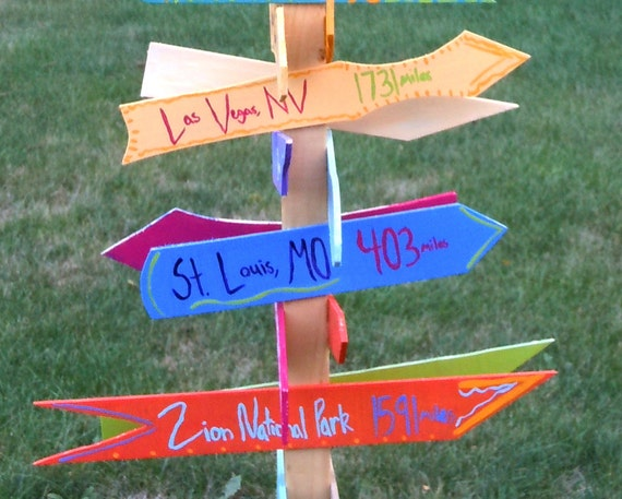 Custom Directional Sign, Mileage Sign