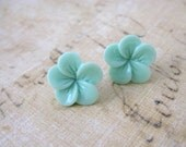 Mint Green Resin Flower - Stud Earrings - Flower Earrings - Plumeria Flower -  Stainless Steel Posts - Resin Flower Jewelry