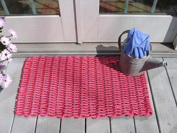 Nantucket Red Handwoven Doormat From Lobster Trap Rope