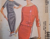 1960s (1962) McCall's 6401 Misses' Two-Piece Dress Vintage Sewing Pattern Size 14