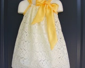 Buy 4 get one Free Custom Made Pillowcase Dress-Fancy Eyelt in Ivory NB-3T years old-Can Use any colow satin Bow