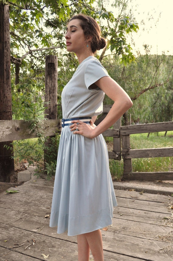 Contact Me BEFORE Purchase-- 1950s Baby Blue Striped Day Dress with Belt