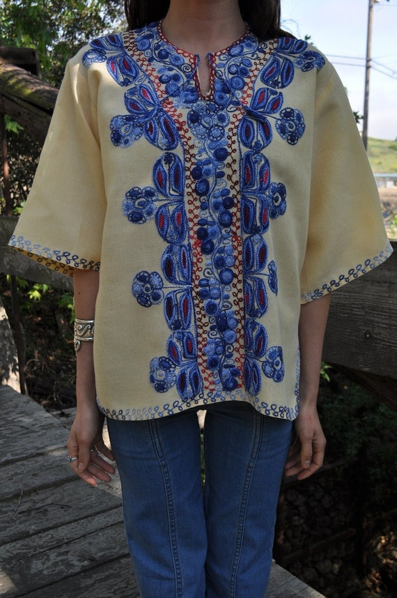 Vintage 60s/70s Small/Med/Large Boho Ethnic Embroidered Tunic